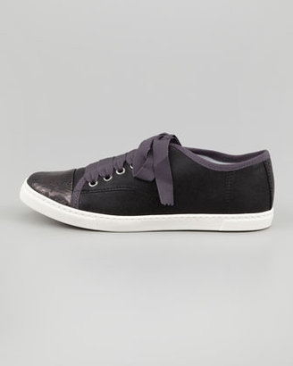 Lanvin Snake-Cap-Toe Leather Sneaker, Black