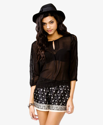 Forever 21 Eyelet Embroidered Peasant Top
