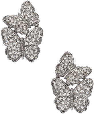 Carolee Silver and Crystal Butterfly Earrings