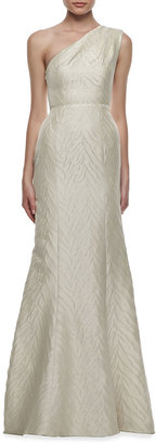 Monique Lhuillier Animal-Textured One-Shoulder Gown