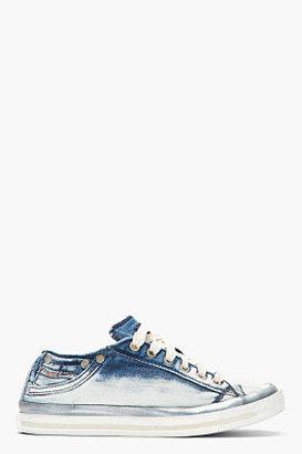 Diesel Faded Blue Denim Shimmering Exposure IV Sneakers