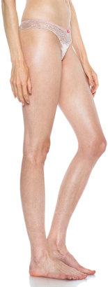 Stella McCartney Faye Flirting Brief Silk-Blend Thong in Frosted Nude & Neon Pink