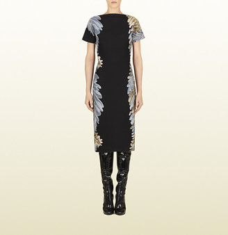Gucci Jacquard Fern Motif Open Back Dress