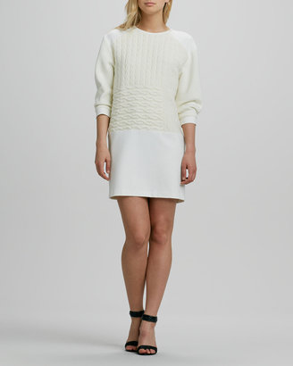 Tibi Patchwork-Knit Sweater Dress