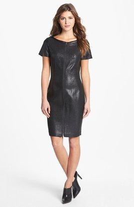 T Tahari 'Lalita' Textured Front Faux Leather Dress
