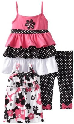 Nannette Girls 2-6X 3 Piece Printed Ruffle Legging Set