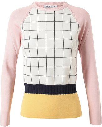 J.W.Anderson Grid Patterned Cashmere-silk Knit