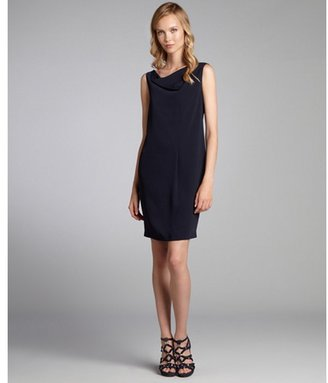 Tahari midnight dream 'Angelica' asymmetrical drape neck sleeveless dress
