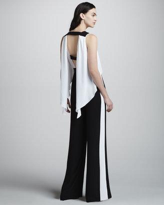 BCBGMAXAZRIA Black/White Wide-Leg Jumpsuit