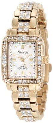 Armitron Women's 75/5057MPGP Swarovski Crystal Accented Gold Tone Bracelet Watch $85 thestylecure.com