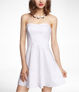 Express Strapless Cotton Sateen Fit And Flare Dress