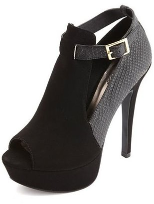 Charlotte Russe Two-Tone Textured Peep Toe Platform Heels