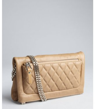 Jimmy Choo khaki leather 'Bex' double chain foldover small shoulder bag