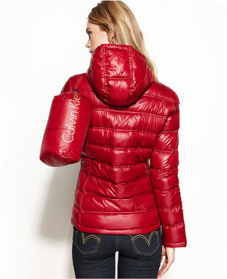 Calvin Klein Packable Hooded Quilted Puffer Coat