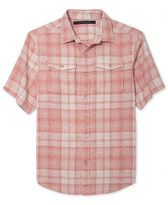 Sean John Big and Tall Shirt, Linen Check Short Sleeve Shirt