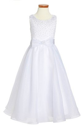 Girl's Joan Calabrese For Mon Cheri Satin & Organza First Communion Dress $238 thestylecure.com