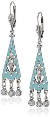 Swarovski Anne Koplik Jewelry Crystal and Enamel Deco Triangle On Leverback Drop Earrings
