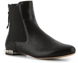 Miu Miu Cracked Leather Rhinestone Bootie