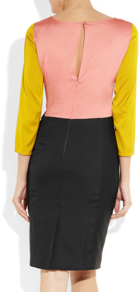 Moschino Cheap & Chic Moschino Cheap and Chic Color-block stretch-satin dress