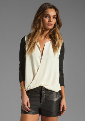 Halston Long Sleeve Slit Front Top in Cream/Black