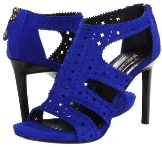 Roberto Cavalli Perforated Goat Suede Sandal (Cobalt) - Footwear