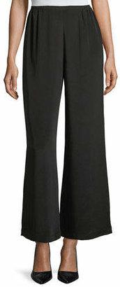 Caroline Rose Silk Crepe Wide-Leg Pants, Plus Size