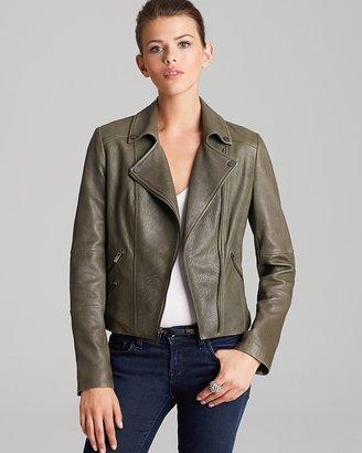 BCBGMAXAZRIA Leather Jacket - Ella Asymmetric Zip Moto