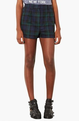 Topshop 'Blackwatch' Checkered Wool Shorts