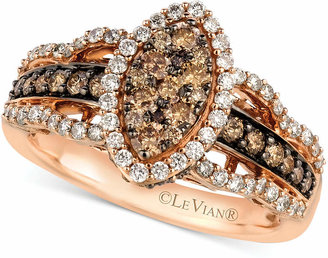 LeVian Le Vian White and Chocolate Diamond Ring in 14k Rose Gold (1-1/4 ct. t.w.)