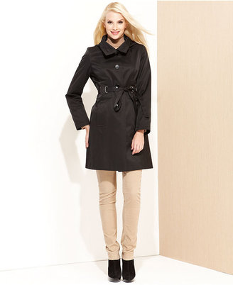 Via Spiga Raincoat, Hooded Belted Button-Front