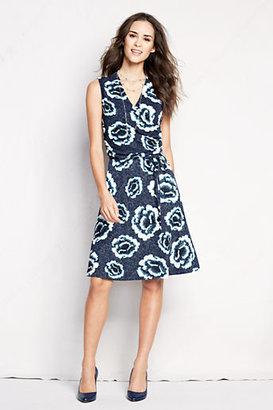 Lands' End Women's Petite Pattern Matte Jersey Surplice Dress
