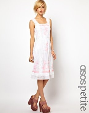 Asos Exclusive Midi Dress with Floral Embroidery - White