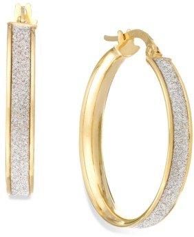 Italian Gold Glitter Hoop Earrings in 14k Gold (20mm)