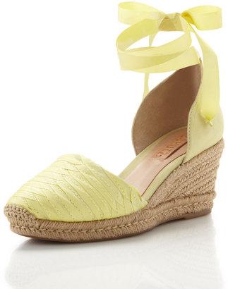 Schutz Ankle-Wrap Espadrille, Lime Green