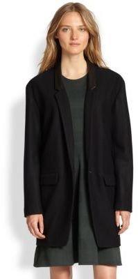 Rag and Bone Rag & Bone Camila Leather-Trimmed Wool Blazer