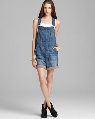 Current/Elliott Overall Jean Shorts - The Shortall with Contrast in Treasure Wash