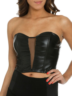 Arden B Faux Leather Mesh Bustier