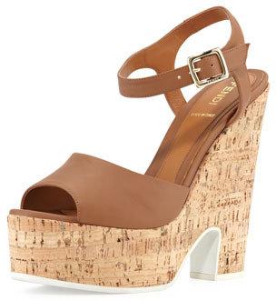 Fendi Platform Cork Wedge Sandal, Brown
