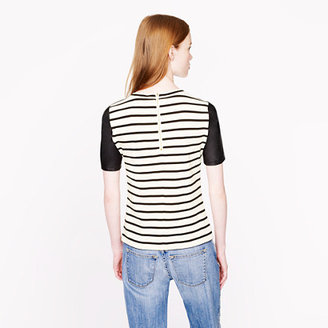 J.Crew Leather-sleeve top in stripe