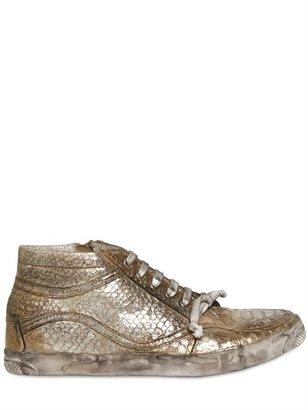 Bryan Blake Metallic Python Print Calfskin Sneakers