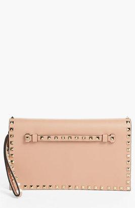 Valentino 'Rockstud' Nappa Leather Flap Clutch Soft Noisette