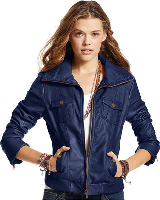 American Rag Ribbed Faux-Leather Bomber Jacket
