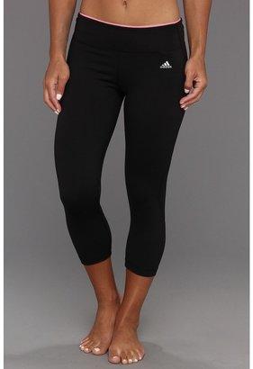 adidas PowerLuxe No Fuss Plaid Training 3/4 Tight (Black/Pink Zest) - Apparel
