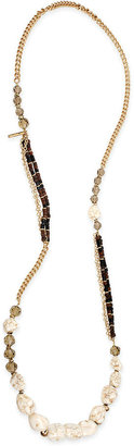 Kenneth Cole New York Gold-Tone Semi-Precious Bead and Crystal Long Necklace