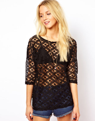 Only Lady Nice Lace 3/4 Length Sleeved Top