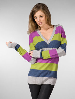 Seaton Boyfriend V-Neck Sweater in Multi Stripe