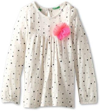 Benetton Kids - Girls' Star Print Shirt w/ Application (Toddler/Little Kids/Big Kids) (Cream/Black Stars) - Apparel