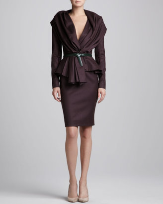 Oscar de la Renta High-Waist Pencil Skirt, Aubergine