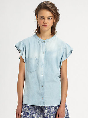 The Man Repeller x PJK Pixie Ruffle Chambray Shirt