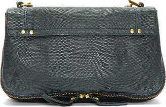 Jerome Dreyfuss Navy Reptile Embossed Leather Bobi Shoulder Bag